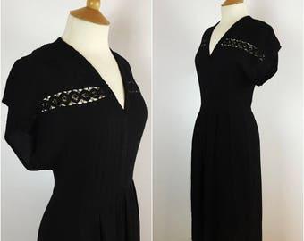 Vintage 1930s Dress - 30s Black Crepe Tea Dress - Lace Detail - Swing Dress - wwii Wartime  - Small Medium - UK 10-12 / US 6-8 / EU 38-40 -
