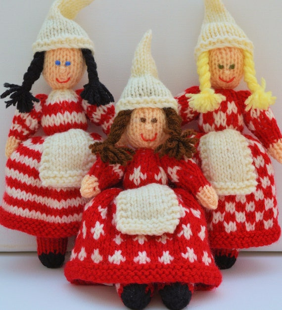 Free Knit Patterns For Headbands : Christmas Doll Knitting Pattern, Yarn Doll, Toy Knitting Pattern, Christmas D...