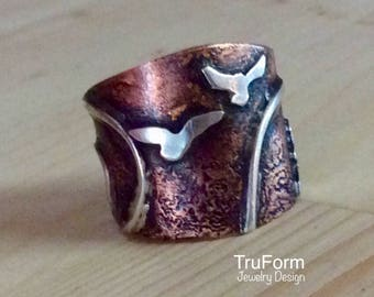 TRIBAL SPIRIT Taking Flight Ring - Bird Jewelry, Copper & Silver Ring, Bird Scene Jewelry, Cigar Band, Rustic Bird Jewelry, Outdoors Person