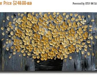 SALE Original Modern  Yellow Gray  Flowers  Heavy  Impasto  Texture  Palette Knife Acrylic   Painting.