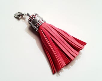 Red coral leather tassel and rhinestone Crown