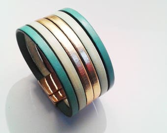 cuff leather Mint pastel green and gold with lobster clasp gold