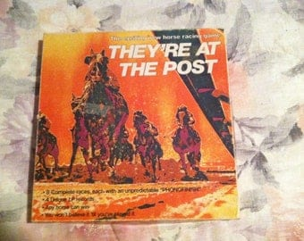 """1976 Horse Racing Game """"They're At The Post"""" with LP records"""