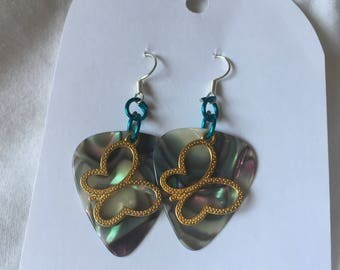 HC Abalone Guitar Pick Earrings with Gold Toned Butterflies