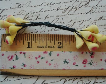 1 Bunch Vintage Yellow Pink German Tiny Rose Buds Double Millinery Flower Stamens Pips Antique Ribbonwork Cloche French Doll Hat Trim
