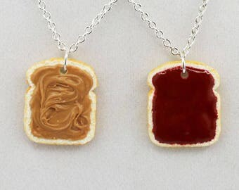 Peanut Butter & Jelly Friendship Necklaces - Food Jewelry - Polymer Clay Jewelry