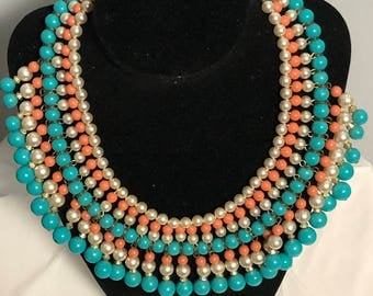 ON SALE  Vintage Jewelry faux turquoise ,pearl,coral drop necklace designer