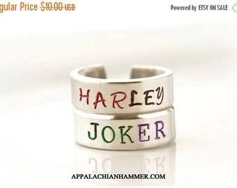 WEEKEND SALE Harley Quinn or Joker Inspired Hand Stamped Adjustable Rings