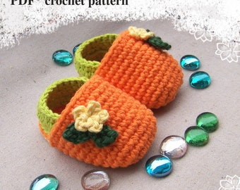 Instant Download Crochet Pattern-Baby Booties-3 Sizes-Newborn to 12 months-Crochet Baby Shoes-DIY Baby Booties-Crochet Slippers Pattern