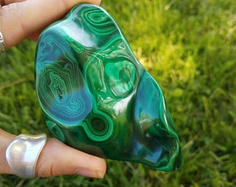 Polished Malachite Crystal Specimen- green banded copper based mineral heart chakra protection