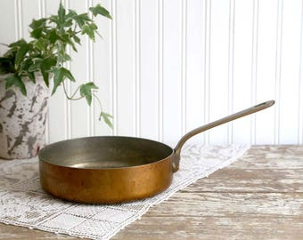 Vintage Copper Pot, Made in France Copper Sauce Pan, Heavy Copper Pot, French Professional Copper Pan, French Country Kitchen