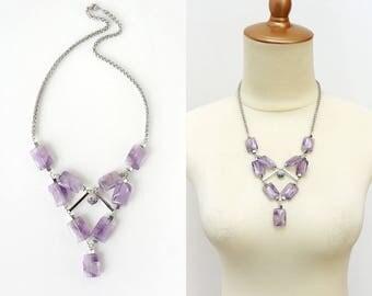Light Violet Cape Amethyst Gemstones Statement Necklace