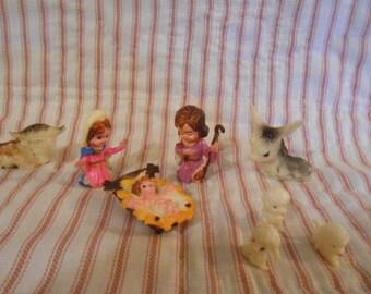 Miniature Nativity Set-Diorama-Hard Plastic-Vintage