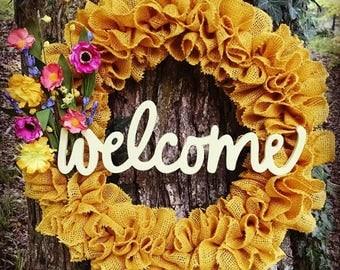 Marigold yellow burlap welcome wreath