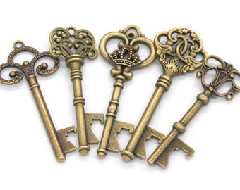 Set of 10 keys bottle openers for wedding favors bronze skeleton keys and 10 kraft tags labels and 10 jute ropes gifts clés