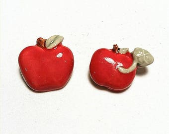 Red Apple Pin, Bookworm, Fashion Accessory,  Apple of My Eye, Apple Brooch, Back To School