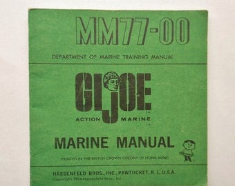 ON SALE Vintage 1964 12-inch Hasbro GI Joe Fm77-00 Marine Manual Printed in The British Crown Colony of Hong Kong