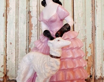 ON SALE Vintage Chalkware or Plaster Mademoiselle Walking Her Dog, Figurine, Pink, White, Black, Hollywood Regency, Cottage Chic, Chippy, Pa