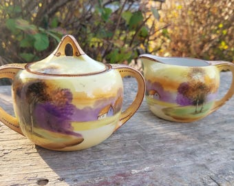 Vintage Nippon Moriage Porcelain Cream and Sugar Set, Landscape, Country House and Lake Scene