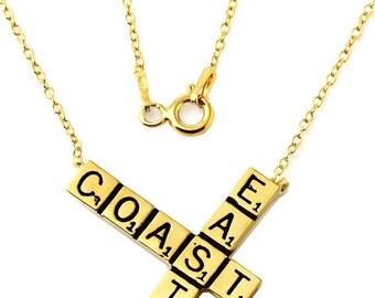 ON SALE East Coast Scrabble Charm Pendant Necklace