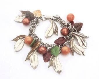 Brown & Green Leaf Charm Bracelet - Vintage Plastic Bumpy and Moonglow Beads, Gold tone Fall Leaves