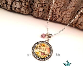 Girl elephant necklace pendant necklace, girl, child, Savannah, animals, Bohemian, ethnic, boho jewel cabochon, toho.