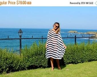 ON SALE Black and white stripes MAXI chiffon cover up dress/maxi dress/plus size dress/party dress/summer dress/beach dress