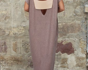 SALE ON 20 % OFF Backless Caftan Dress, Mocha Oversized Dress, Backless Dress , Maxi Dress , Sleeveless dress , Open back dress