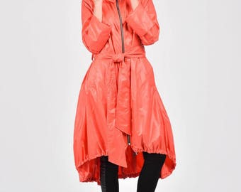NEW Collection  Coral Zipper Hooded Raincoat / Spring Blazer / Extravagant Trench with Long  Belt / Maxi Coat  by Aakasha A07372