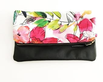 Spring Floral Leather Fold Over Clutch