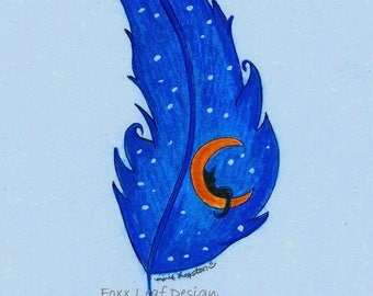 Kitty Moon / Feather (Blue Bkgd) Greeting Cards - Note Cards. Includes White Envelopes. Blank Inside.