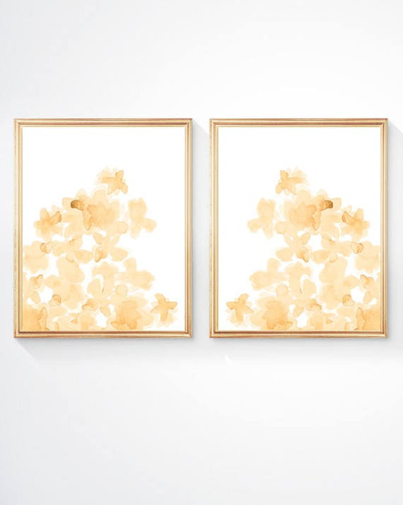 Yellow Nursery Prints, Set of 2-8x10  Flower Prints