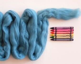 MERINO WOOL ROVING / Pale Aqua 1 ounce / merino wool for felting, spinning fiber, weaving, doll hair, infant photography, knitting, dreads