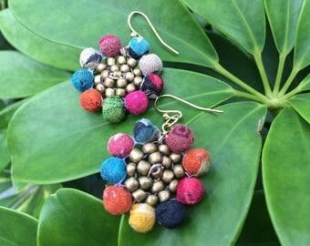 Gypsy earrings, boho earrings, kantha earrings, ethnic earrings, sunflower earrings, tribal earrings, fashion earrings, for her, bohemian