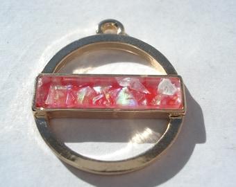24mm Zinc Based Alloy Charm, Geometric Gold Plated Round Red Charm, Imitation Opal Charm, C210