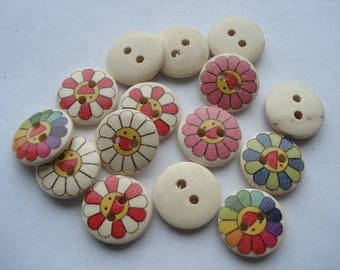 15mm Wooden Sewing Buttons, 2-Hole Flower Pattern Buttons, Pack of 25 Mixed Buttons, W1516