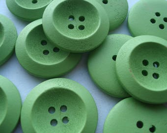 25mm Wooden Sewing Buttons, 4-Hole Round Green Buttons, Pack of 25 Wooden Buttons, W2544