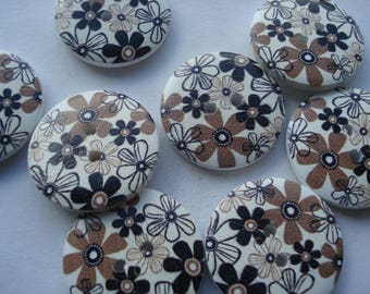 25mm Wooden Buttons, 2-Hole Printed Flat Round Buttons, Pack of 20 Black and White Flower Buttons, W2513