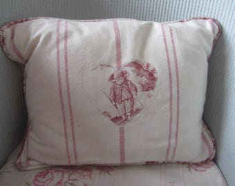 Cushion, Susie Watson fabric and vintage toile de jouy