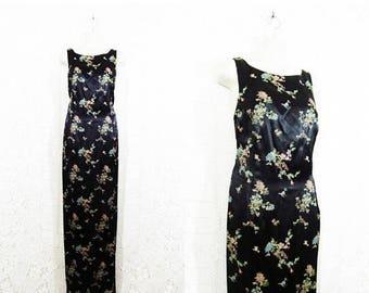 30% OFF DRESS SALE Vtg 90s Asian Inspired Gothic Black Floral Brocade Maxi Dress || size 8 ||