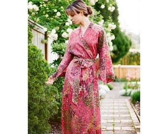"The ""Haiku"". One custom robe in lined cotton. Bohemian womens kimono long robe with pockets Art deco flapper style"