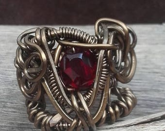 Celtic Goddess Morrigan Red Rudy 5.5 USA Ring