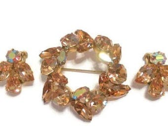 Regency Amber Topaz AB Crystal Brooch & Clip on Earring Set