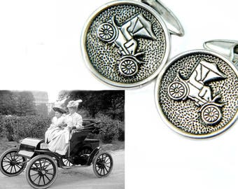 1920s Antique Auto Cufflinks Ford Model A Quadricycle Automobile Car Roadster Accessory Suit And Tie Gift Idea For Father Or Husband