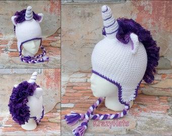Unicorn hat.Crochet unicorn hat.