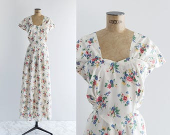 Vintage 1940s White Floral Dress - 40s Fashion - Cherished Gift Gown