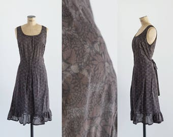 70s Dark Brown Knee Length Dress - Vintage 1970s Polka Dot Fashion- A La Sombra Dress