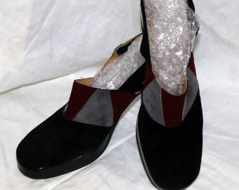 1970s Civitas Sling Back Platforms - Suede - Patent Leather - Black Gray Burgundy - Size 7-1/2N - Made in Italy