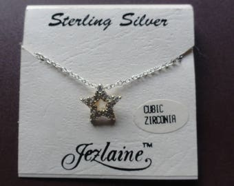 Vintage Jezlaine Sterling Silver Cubic Zirconia Star Shaped Necklace 22""