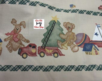 Vintage Daisy Kingdom Christmas Toy Border Fabric...great for little girls dresses, aprons, blouses, quilting, home accessories